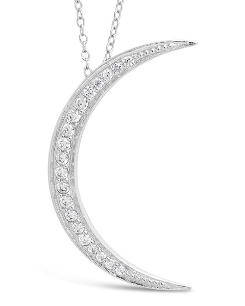 CZ Crescent Moon Necklace Necklace Sterling Forever Silver