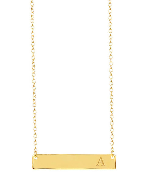 Sterling Silver Bar Initial Necklace Necklace Sterling Forever Gold A
