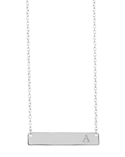 Sterling Silver Bar Initial Necklace Necklace Sterling Forever Silver A