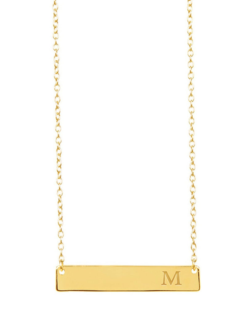 Sterling Silver Bar Initial Necklace - Sterling Forever