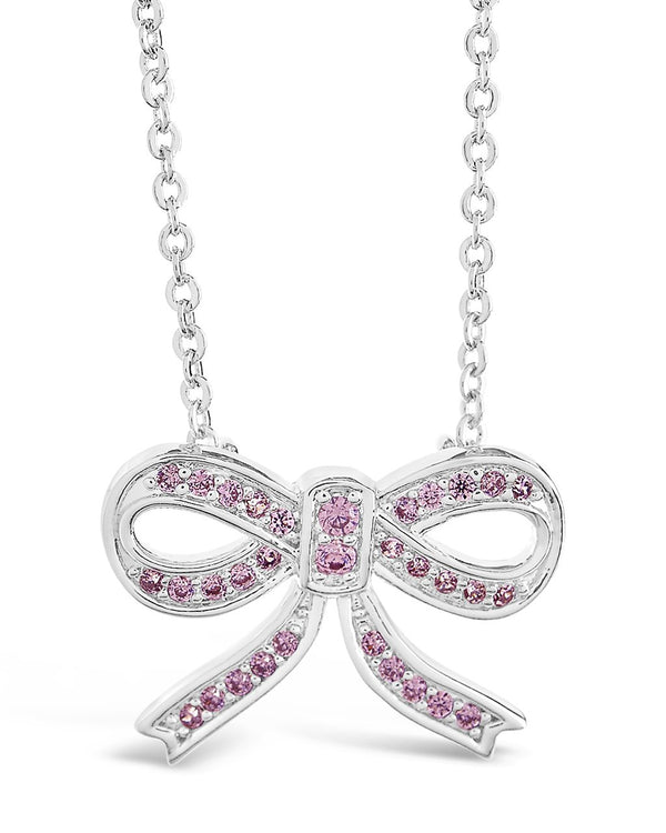 Sterling Silver CZ Bow Pendant Necklace - Sterling Forever