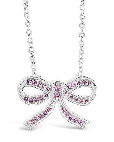 Sterling Silver CZ Bow Pendant Necklace Necklace Sterling Forever Pink
