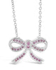 Sterling Silver CZ Bow Pendant Necklace