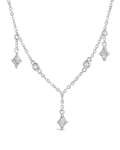 Delicate CZ Charm Dangle Necklace - Sterling Forever