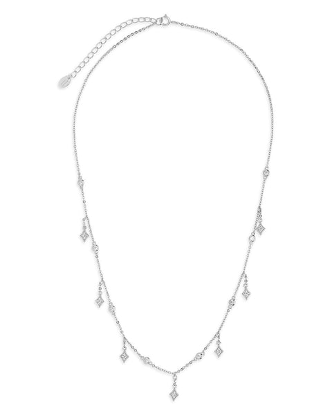 Delicate CZ Charm Dangle Necklace Necklace Sterling Forever Silver
