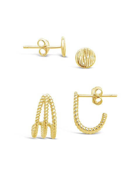14K Gold Vermeil Rope Stud Earring Set of 2 Earring Sterling Forever