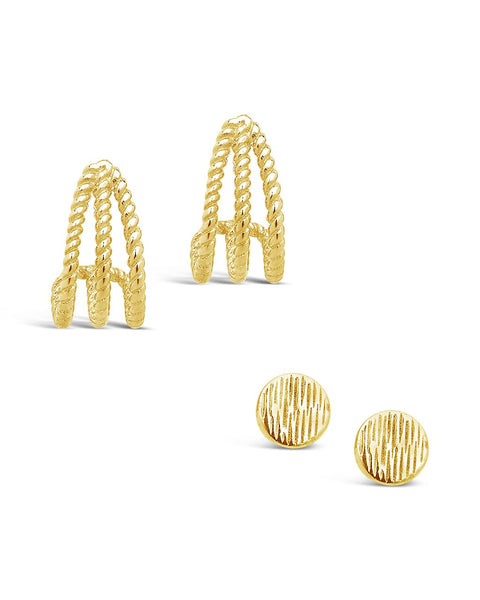 14K Gold Vermeil Rope Stud Earring Set of 2 Earring Sterling Forever Gold