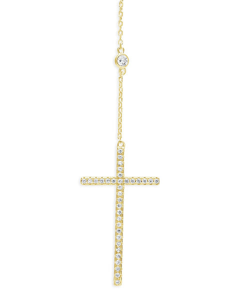 Sterling Silver CZ Y Cross Necklace Necklace Sterling Forever Gold