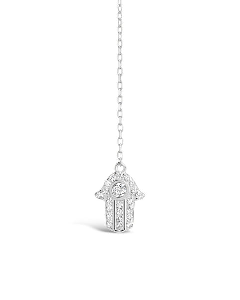 Sterling Silver Pave CZ Hamsa Y-Drop Necklace