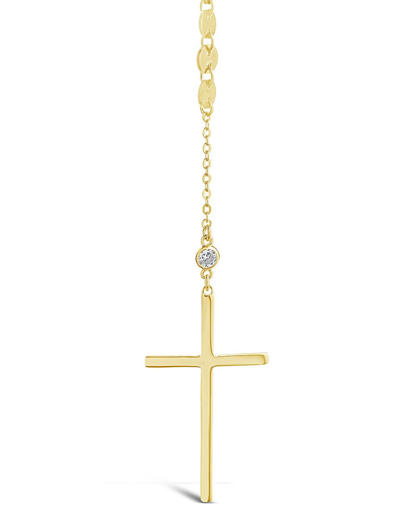 14K Gold Vermeil Cross & CZ Y Necklace
