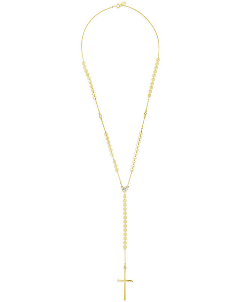 14K Gold Vermeil Cross & CZ Y Necklace Necklace Sterling Forever Gold