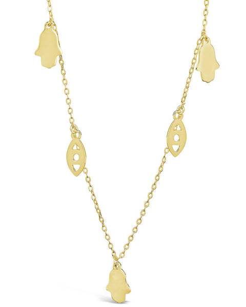 14K Gold Vermeil Evil Eye Hamsa Necklace