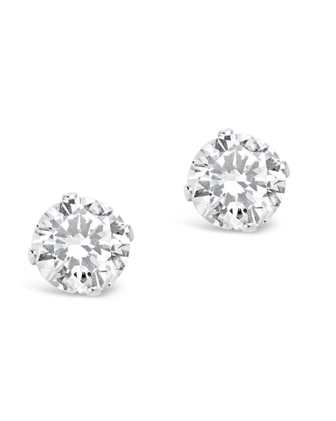 Sterling Silver CZ Stud Earrings