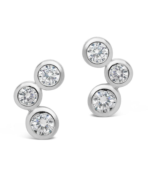 Sterling Silver CZ Bubbles Stud Earrings
