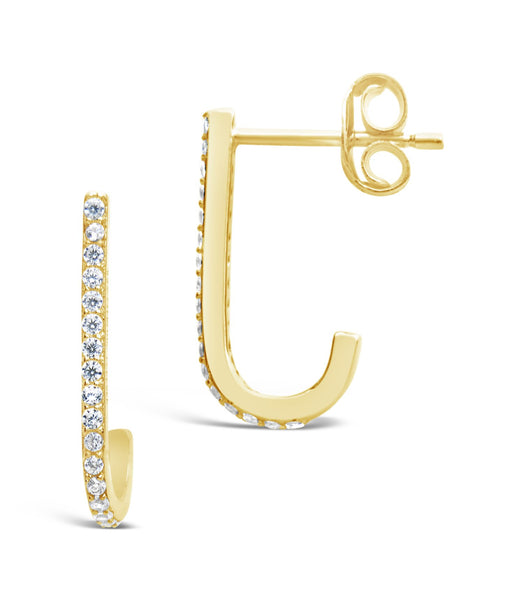 14K Gold Vermeil CZ Suspender Earrings