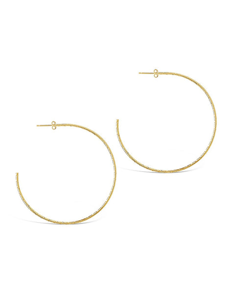 Sterling Silver Textured Hoops - Sterling Forever
