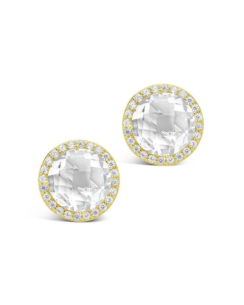 Quartz Halo Stud Earrings