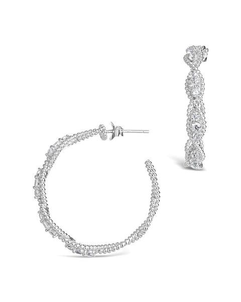 Sterling Silver CZ Twisted Rope Hoop Earrings