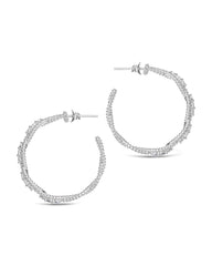Sterling Silver CZ Twisted Rope Hoop Earrings Earring Sterling Forever