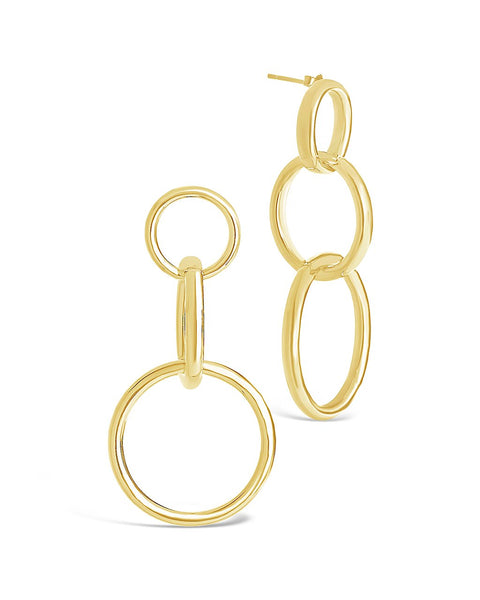 14K Gold Vermeil Linked Circle Drop Earrings
