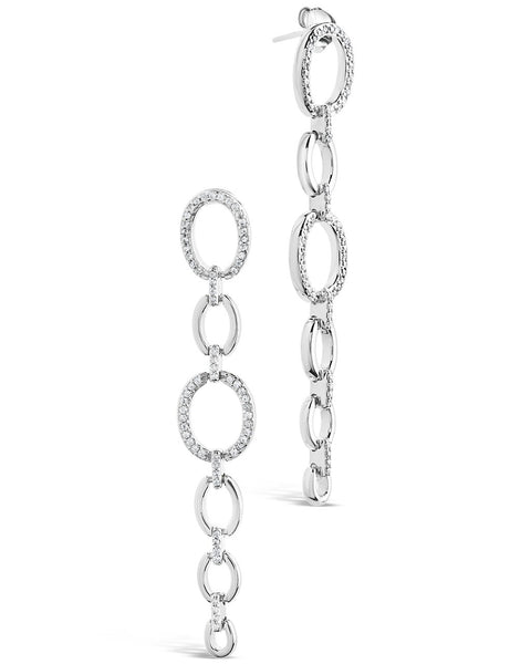 Sterling Silver CZ Link Drop Earrings Earring Sterling Forever