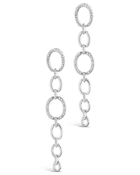 Sterling Silver CZ Link Drop Earrings