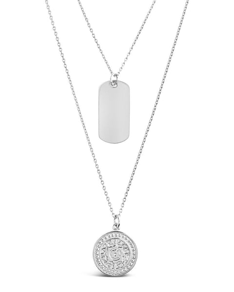 Circle & Tag Layered Necklace Necklace Sterling Forever Silver