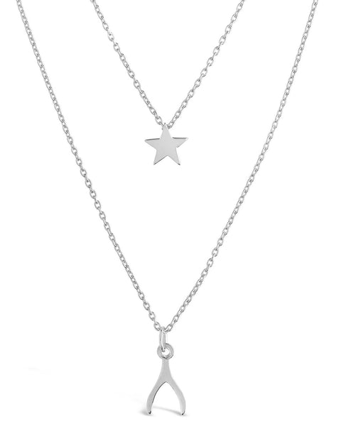 Star & Wishbone Necklace Set Necklace Sterling Forever Silver