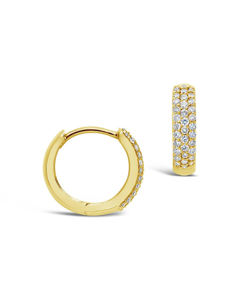 14K Gold Pave Diamond Huggie Hoop Earrings Fine Earring SF Fine 14K Yellow Gold