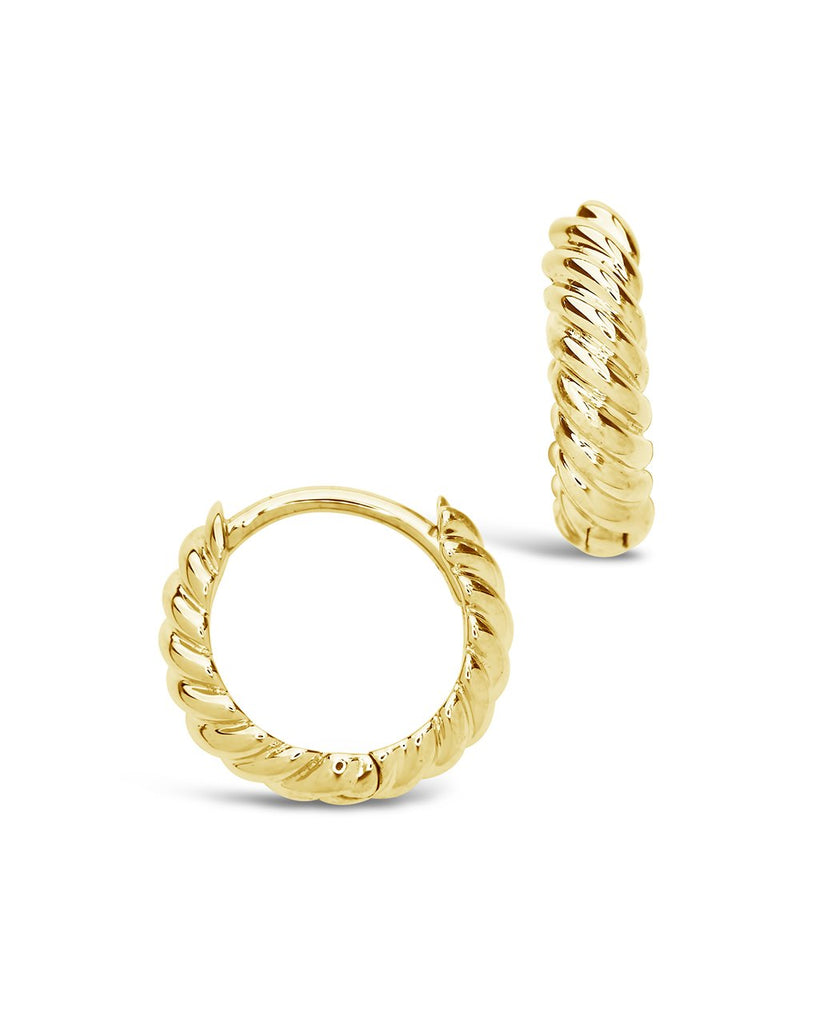 14K Gold Twist Huggie Hoop Earrings Fine Earring SF Fine 14K Yellow Gold