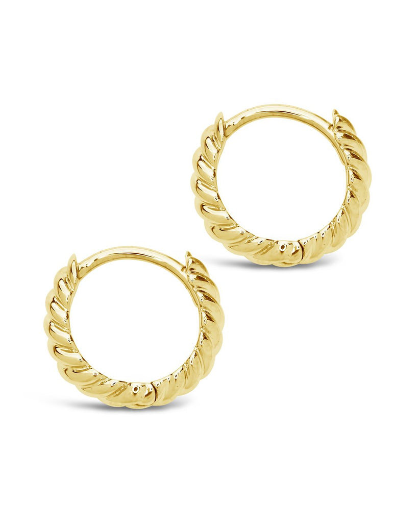 14K Gold Twist Huggie Hoop Earrings Fine Earring SF Fine