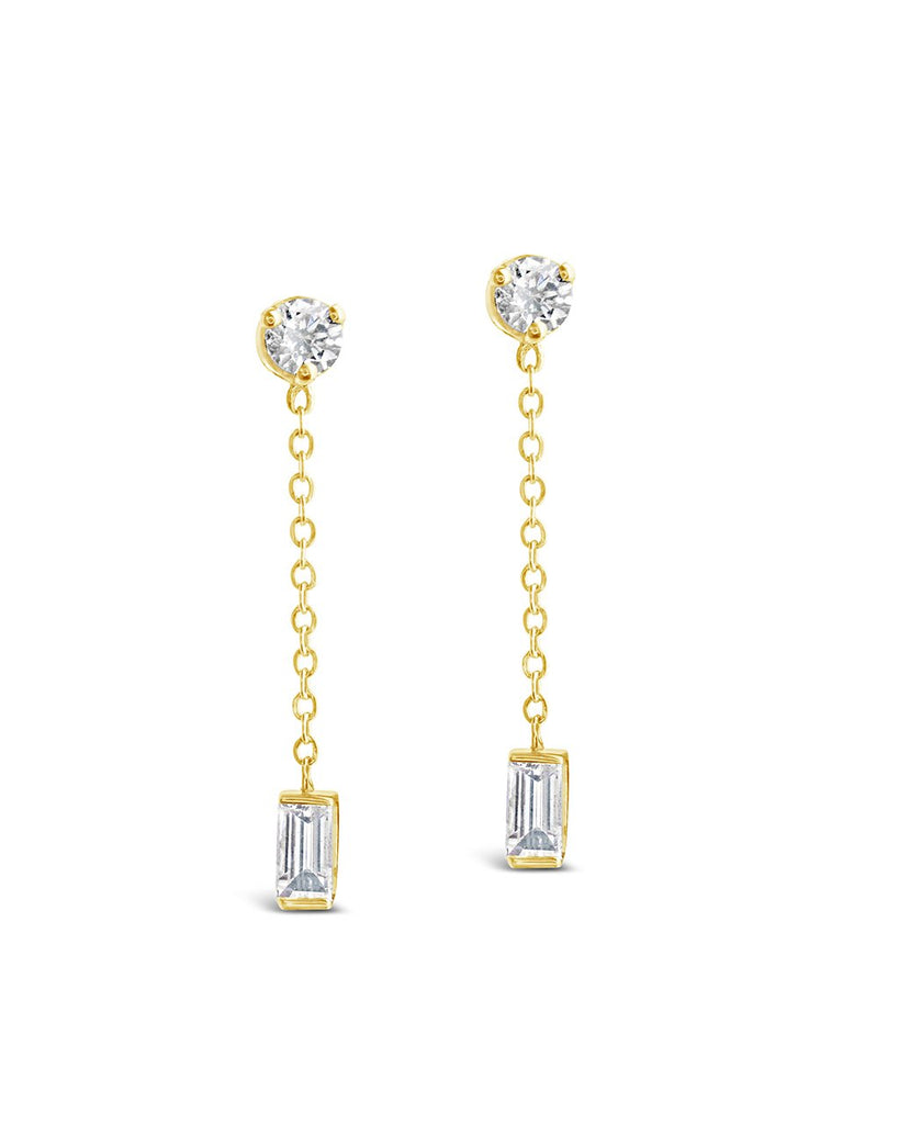 14K Gold Baguette Diamond Chain Drop Stud Earrings Fine Earring SF Fine 14K Yellow Gold