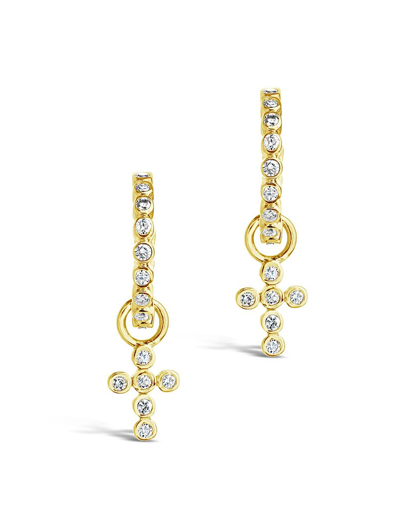 14K Gold Diamond Cross Huggie Hoop Earrings Fine Earring SF Fine 14K Yellow Gold
