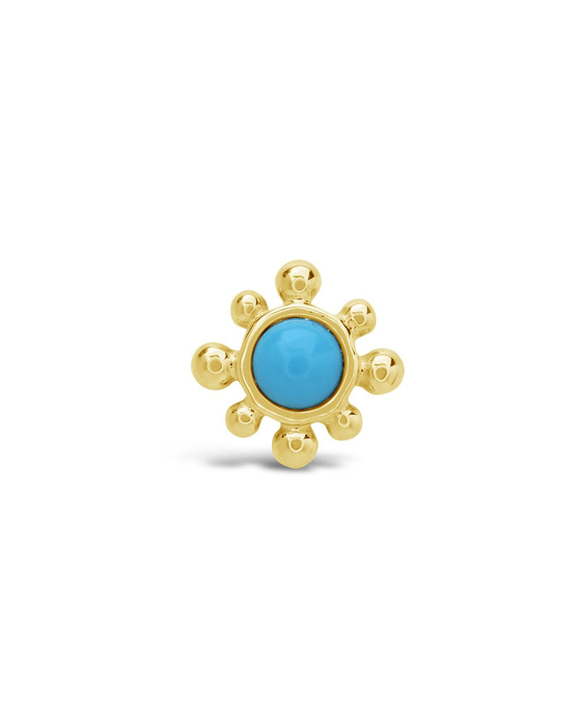 14K Gold Turquoise Burst Single Stud Earring Fine Earring SF Fine 14K Yellow Gold