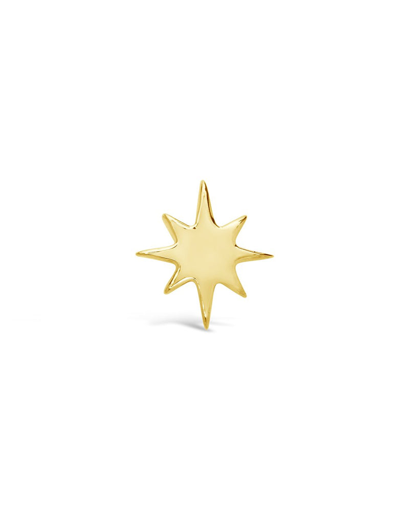 14K Gold Burst Single Stud Earring Fine Earring SF Fine 14K Yellow Gold