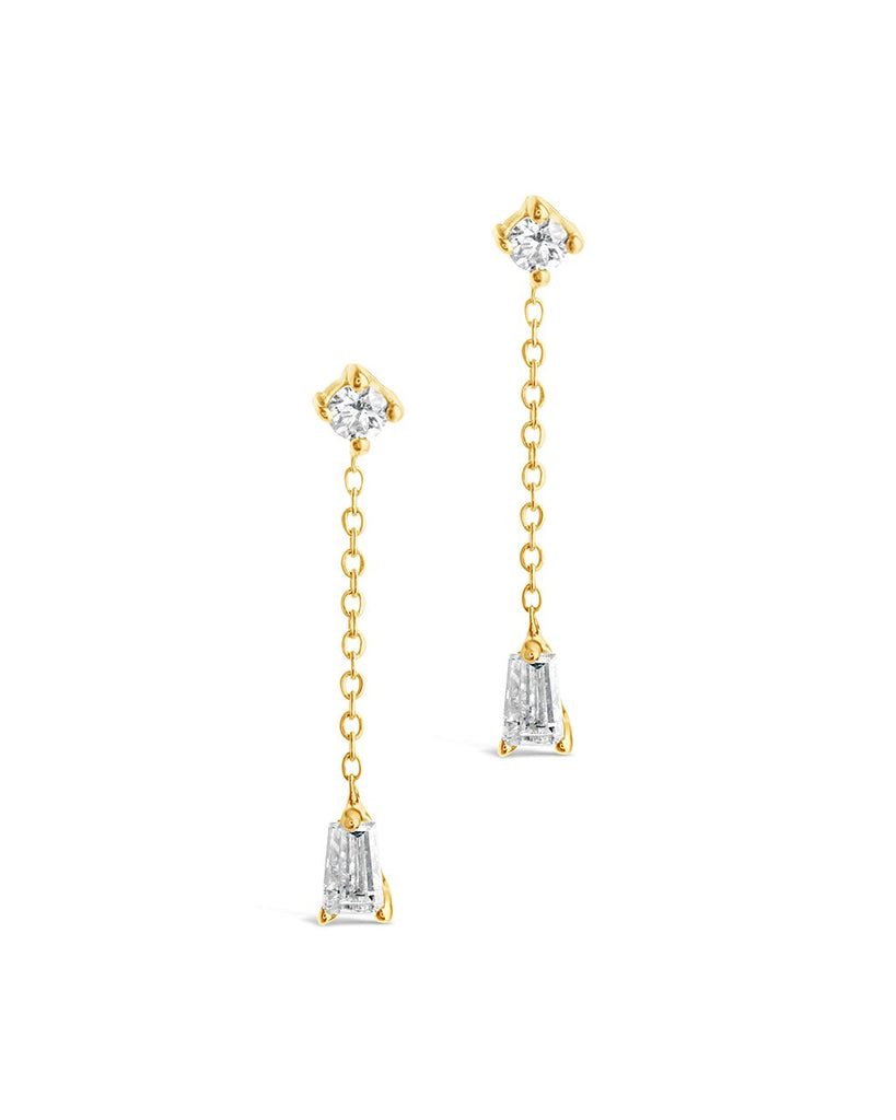 14K Gold Tapered Baguette Diamond Chain Drop Stud Earrings Fine Earring SF Fine 14K Yellow Gold