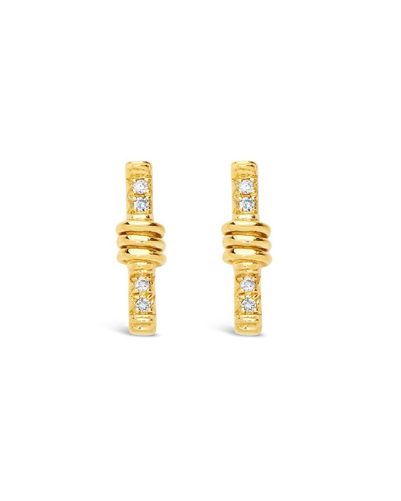 14K Gold Wrapped Diamond Bar Stud Earrings Fine Earring SF Fine 14K Yellow Gold
