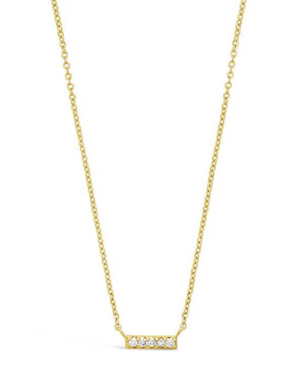 14K Gold & Diamond Bar Necklace Fine Necklace SF Fine 14K Yellow Gold