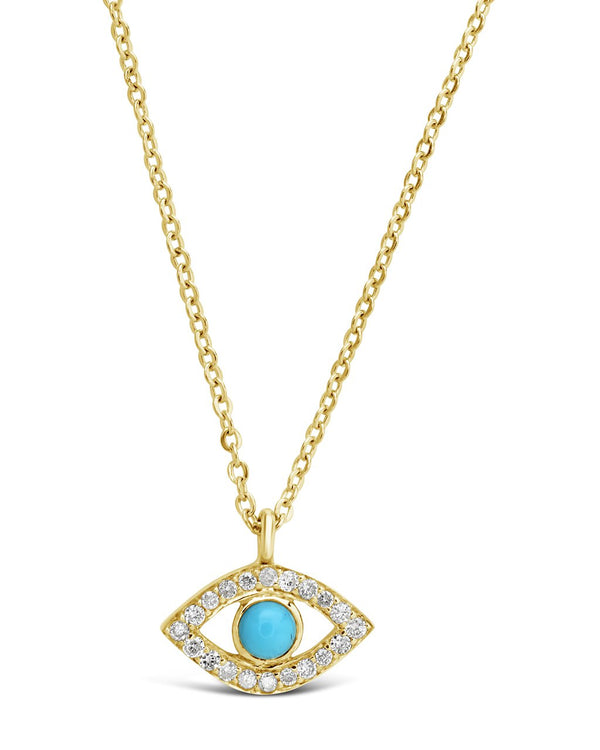 14K Gold Diamond & Turquoise Evil Eye Pendant Necklace Fine Necklace SF Fine 14K Yellow Gold