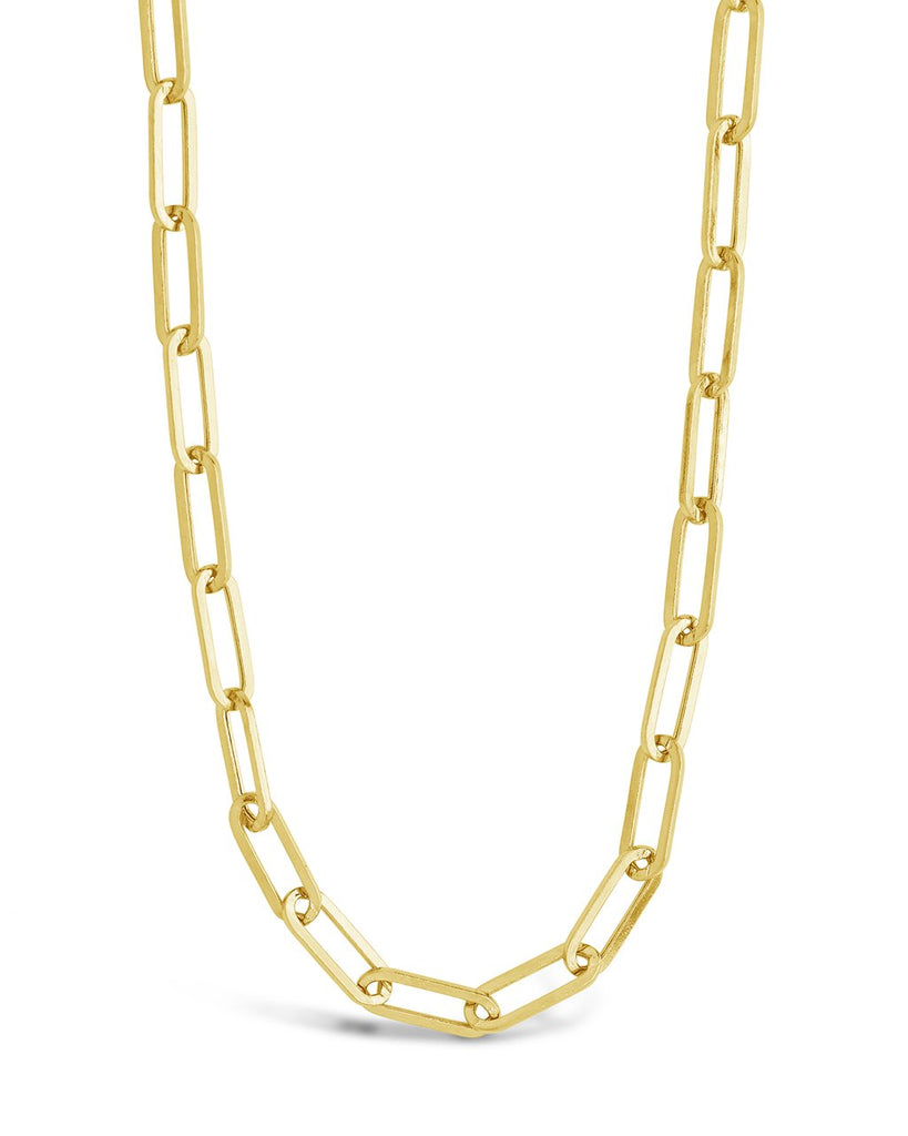 14K Gold Paperclip Chain Fine Necklace SF Fine 14K Yellow Gold