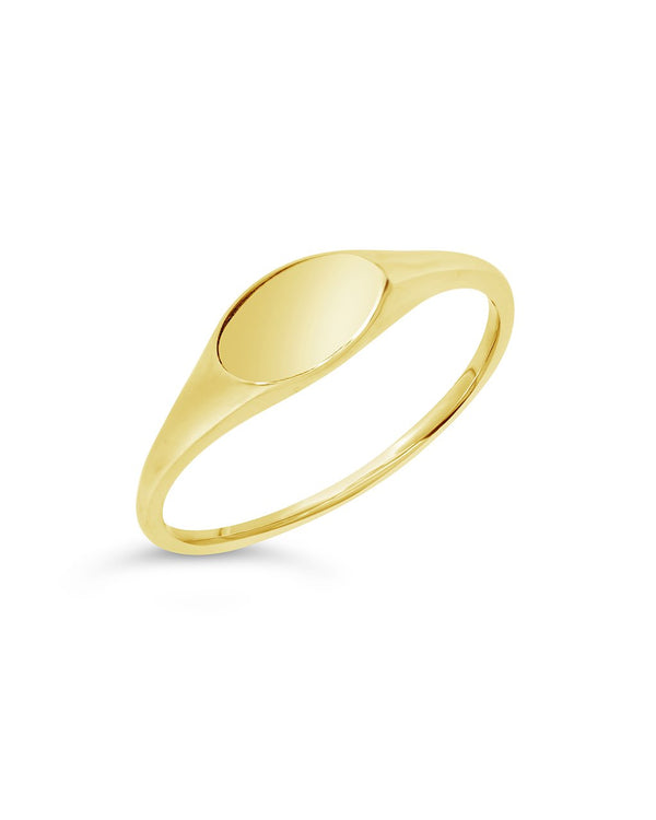 14K Gold Thin Signet Ring Fine Ring SF Fine