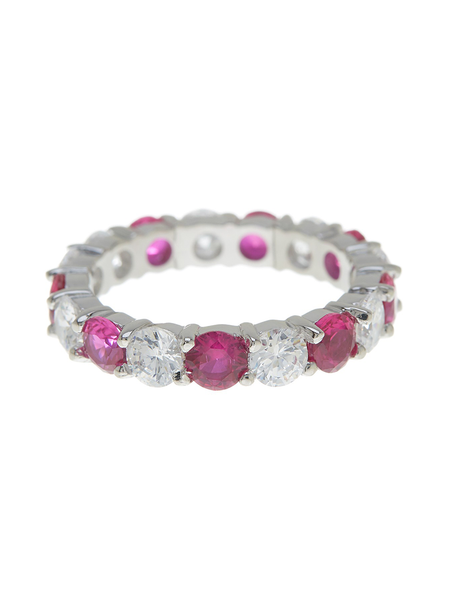 Sterling Silver Ruby Pink Celebration Eternity Ring