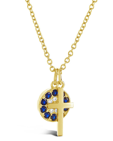 Delicate Cross Charm Necklace Necklace Sterling Forever Gold