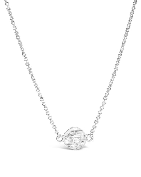 Delicate Textured Solid Circle Necklace Necklace Sterling Forever Silver
