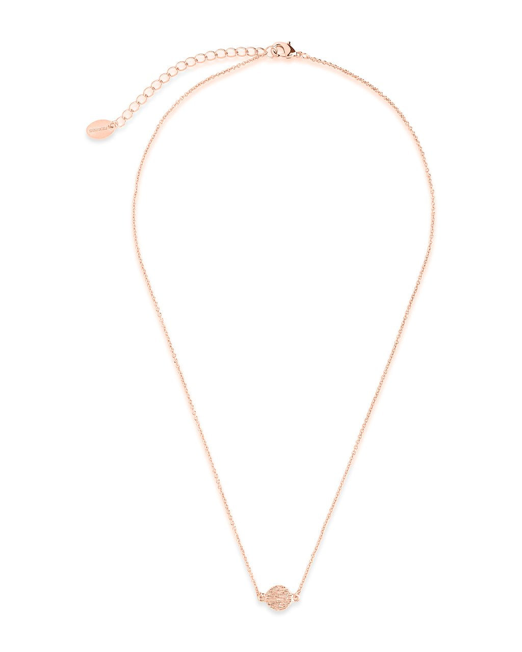 Delicate Textured Solid Circle Necklace