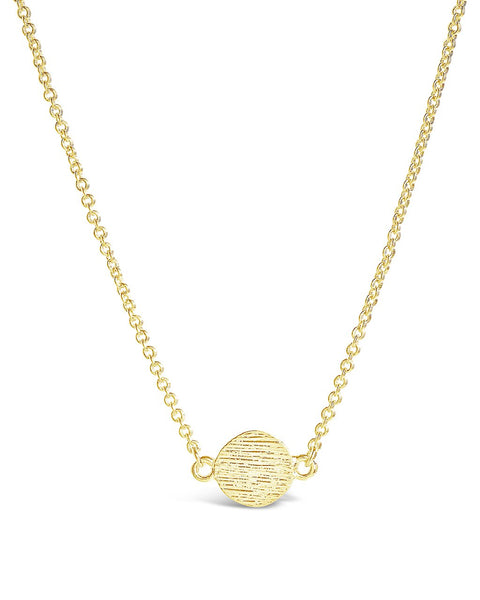Delicate Textured Solid Circle Necklace Necklace Sterling Forever Gold
