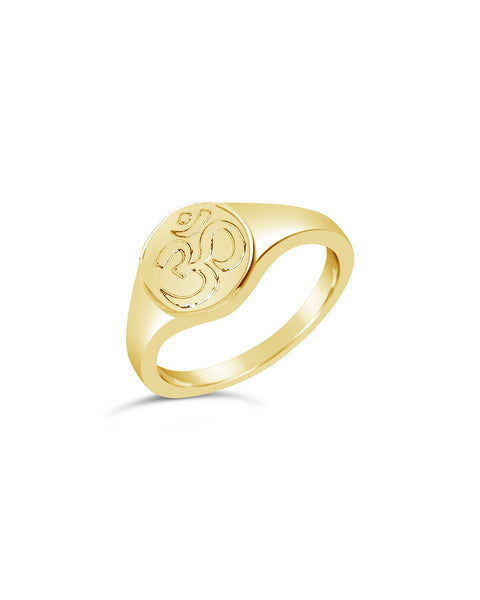 Om Engraved Signet Ring