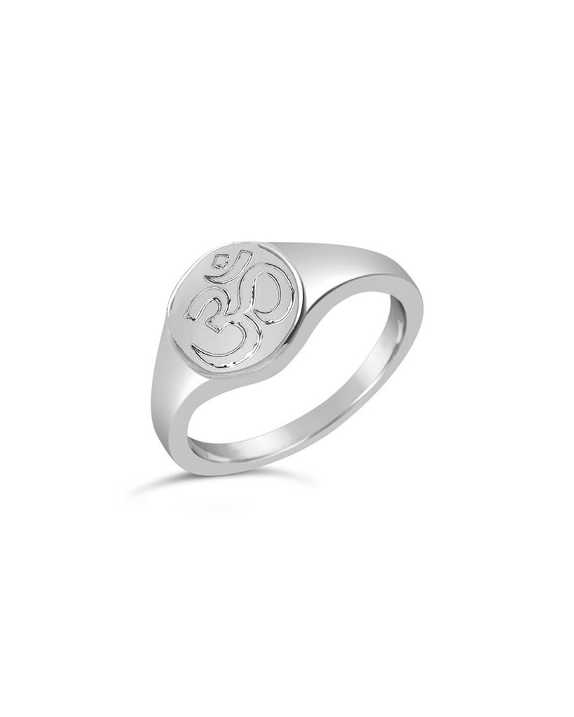 Om Engraved Signet Ring - Sterling Forever