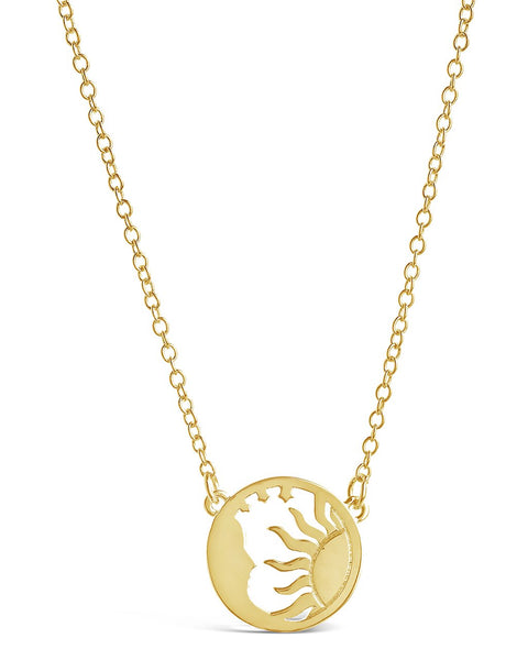 Intricate Sun and Moon Necklace Necklace Sterling Forever Gold