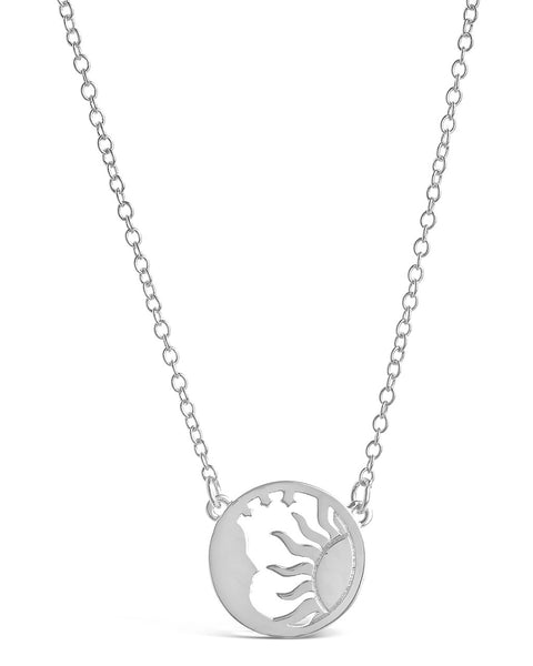 Intricate Sun and Moon Necklace Necklace Sterling Forever Silver